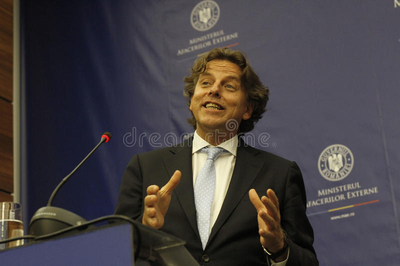 Romanian Foreign Affairs Minister Bogdan Aurescu consultations with visiting Dutch counterpart Bert Koenders royalty free stock photo