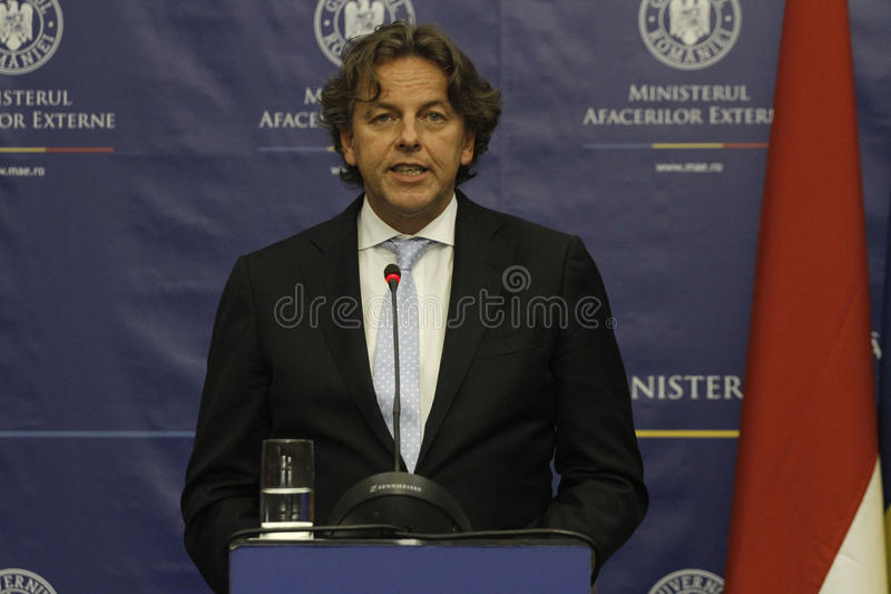Romanian Foreign Affairs Minister Bogdan Aurescu consultations with visiting Dutch counterpart Bert Koenders royalty free stock images