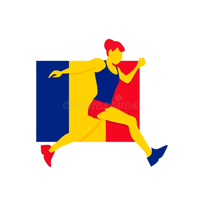 Romanian gymnast athlete emblem olimpuic games icon. Romanian gymnast athlete emblem on the background of the romanian flag royalty free illustration