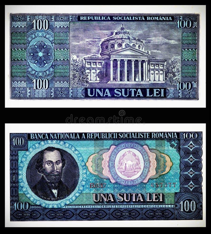 100 Romanian idoso Bill dos leus 1966 fotografia de stock royalty free