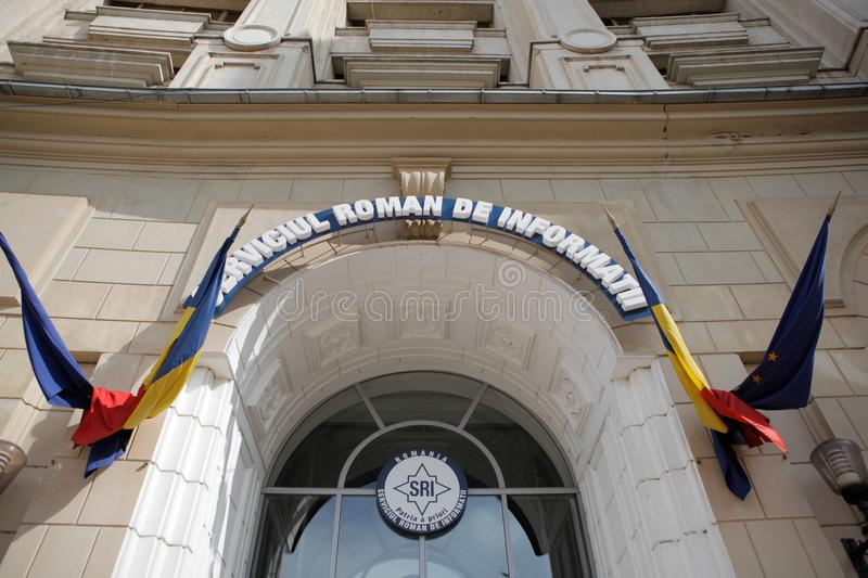 Romanian Intelligence Service. Logo and building from the outside royalty free stock photography