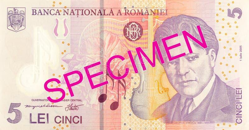 5 romanian leu banknote obverse specimen. Single 5 romanian leu banknote obverse specimen royalty free stock images
