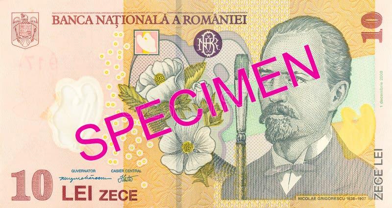10 romanian leu banknote obverse specimen. Single 10 romanian leu banknote obverse specimen royalty free stock photos