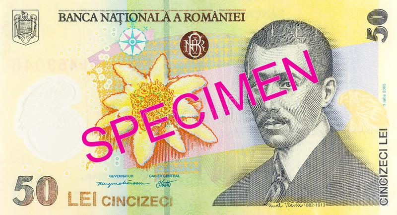 50 romanian leu banknote obverse specimen. Single 50 romanian leu banknote obverse specimen stock photography