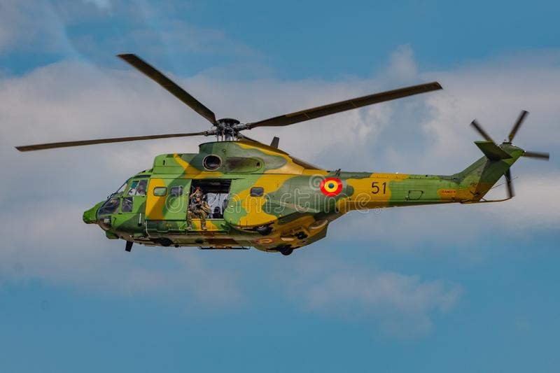 Romanian military helicopter. Romanian,  airshow, airplane, engine, propeller, formation, tricks, sky, shark, nikon, d610, tamron, 70-300, constanta stock photo