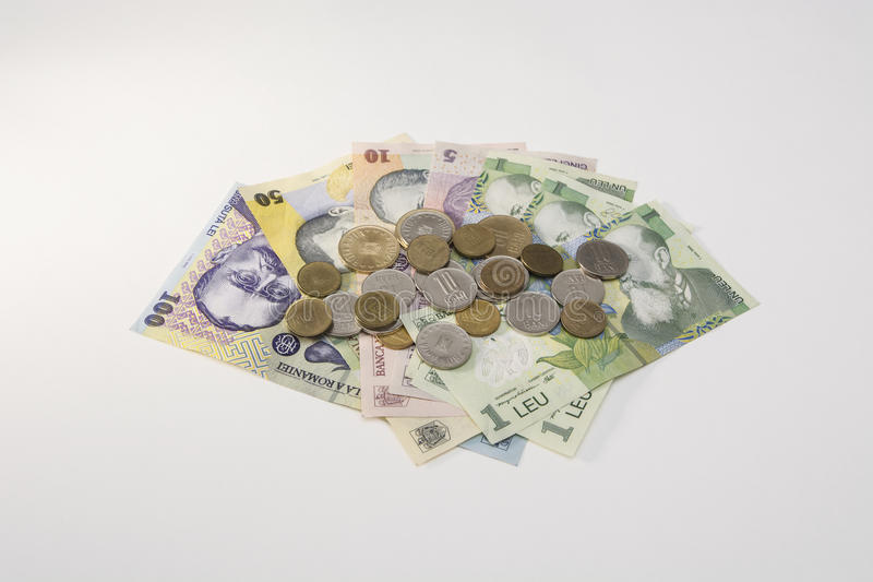 Romanian money - bills and coins. Stack of romanian money - bills and coins royalty free stock photo