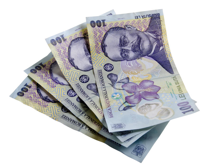 Romanian money with clipping path
