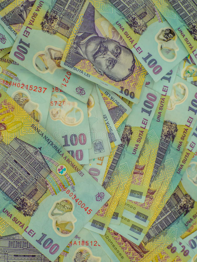 Romanian money ron background royalty free stock photo