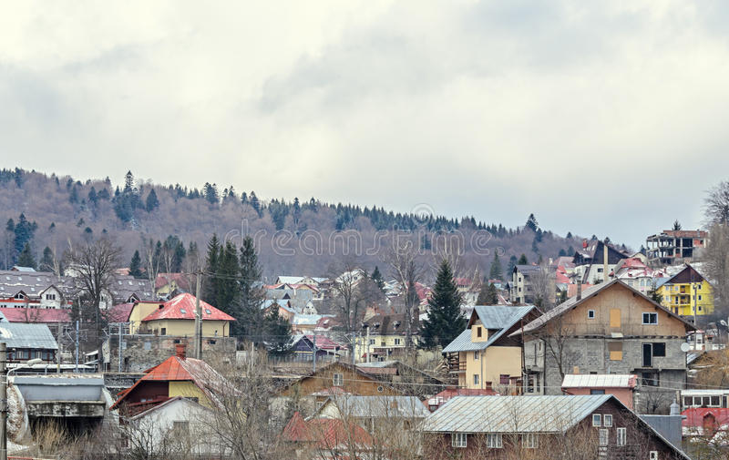 Romanian mountain city with colored houses, hotels stock image