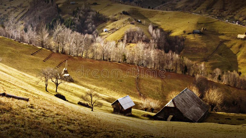 Romanian mountain landscape. Romanian beautiful mountain landscape with forests stock images
