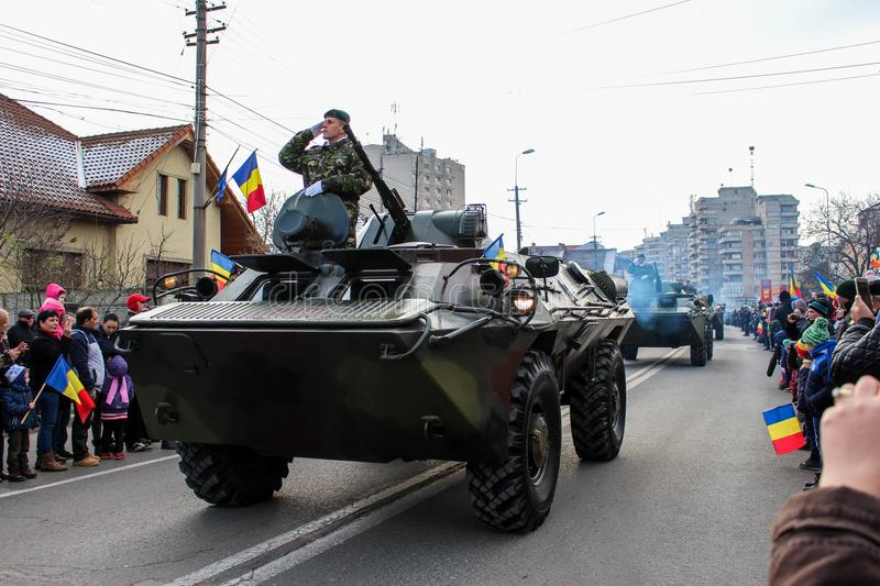 Romanian National Day military parade army vehicule rank. The shot was taken on 01 December 2016 in the city Alba Iulia on Romanian National Day at the military stock image