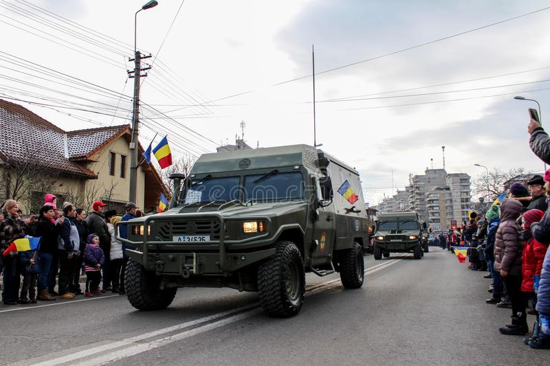 Romanian National Day military parade army vehicule. The shot was taken on 01 December 2016 in the city Alba Iulia on Romanian National Day at the military royalty free stock image