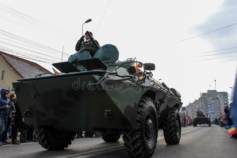Romanian National Day military parade army vehicule. The shot was taken on 01 December 2016 in the city Alba Iulia on Romanian National Day at the military royalty free stock photos