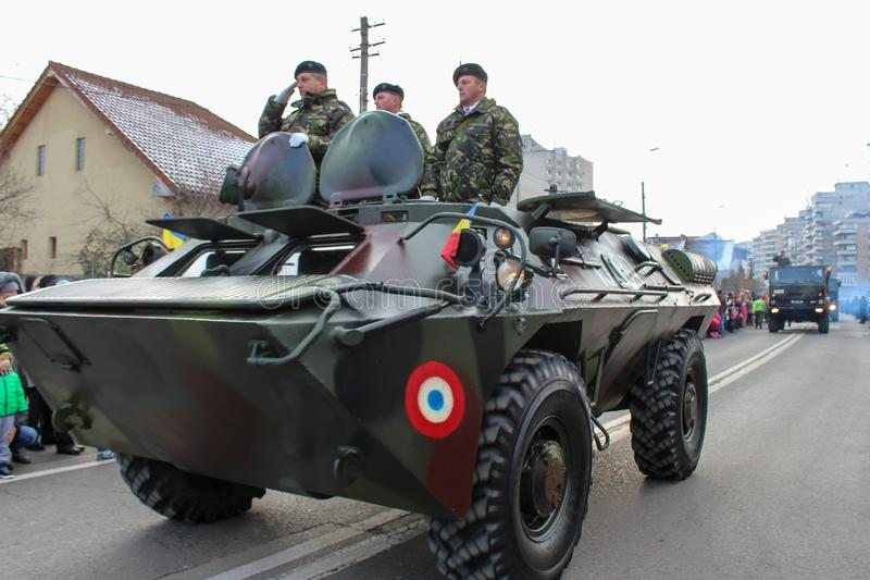 Romanian National Day military parade army vehicule tank. The shot was taken on 01 December 2016 in the city Alba Iulia on Romanian National Day at the military royalty free stock images