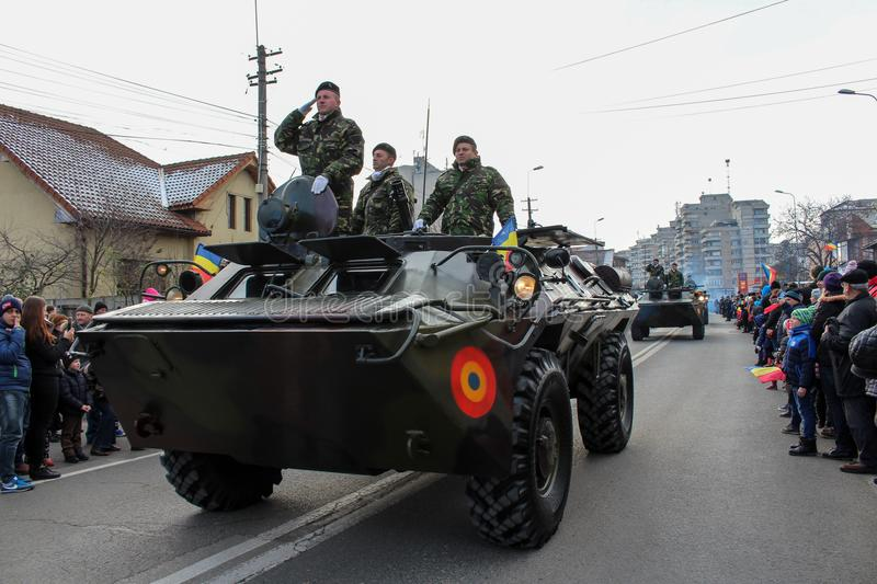Romanian National Day military parade tank army vehicule. The shot was taken on 01 December 2016 in the city Alba Iulia on Romanian National Day at the military royalty free stock image