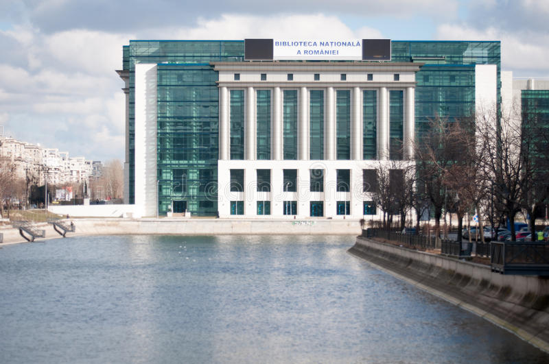 Romanian national library river view. Romanian national library in bucharest stock photos