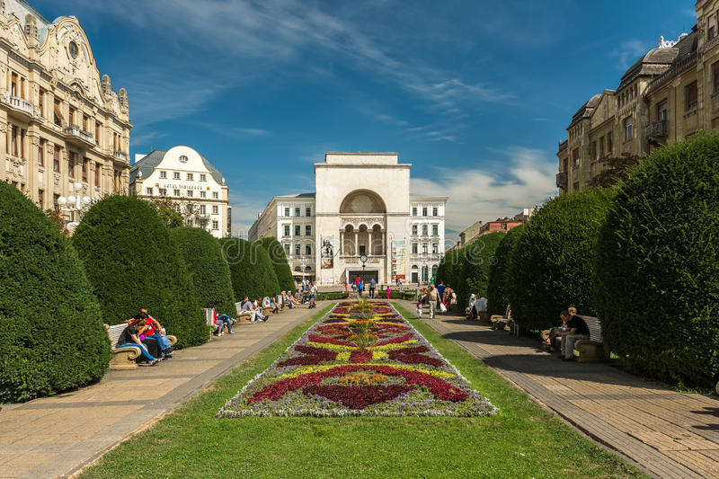 The Romanian National Opera in Timisoara. TIMISOARA, ROMANIA - AUGUST 25, 2014: The Romanian National Opera in Timisoara is a public opera and ballet institution stock image