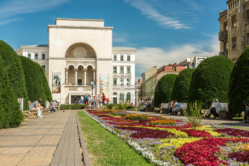 The Romanian National Opera in Timisoara. TIMISOARA, ROMANIA - AUGUST 25, 2014: The Romanian National Opera in Timisoara is a public opera and ballet institution royalty free stock image