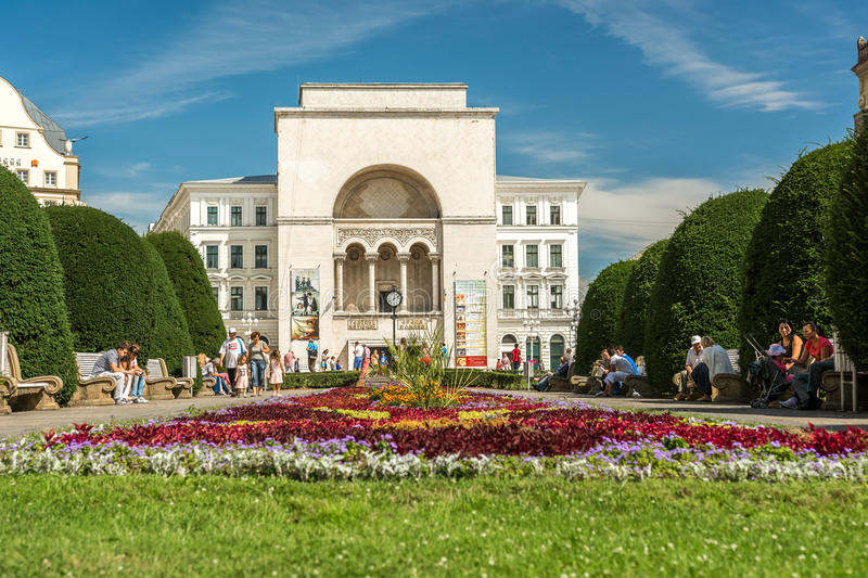 The Romanian National Opera in Timisoara. TIMISOARA, ROMANIA - AUGUST 25, 2014: The Romanian National Opera in Timisoara is a public opera and ballet institution stock images