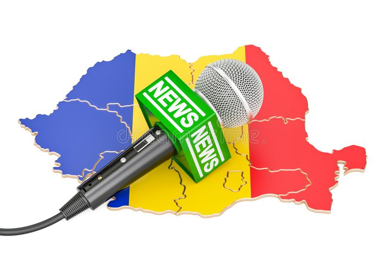 Romanian News concept, microphone news on the map. 3D rendering. Romanian News concept, microphone news on the map royalty free illustration