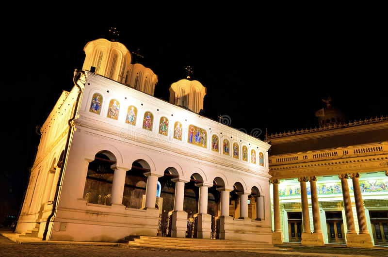 Romanian Patriarchal Cathedral - Night Scene royalty free stock photo
