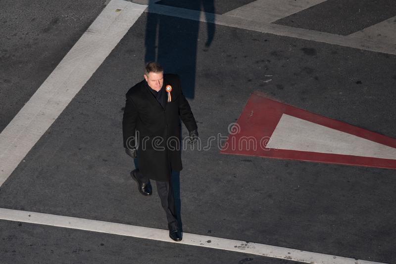 Romanian President Klaus Iohannis stock photo