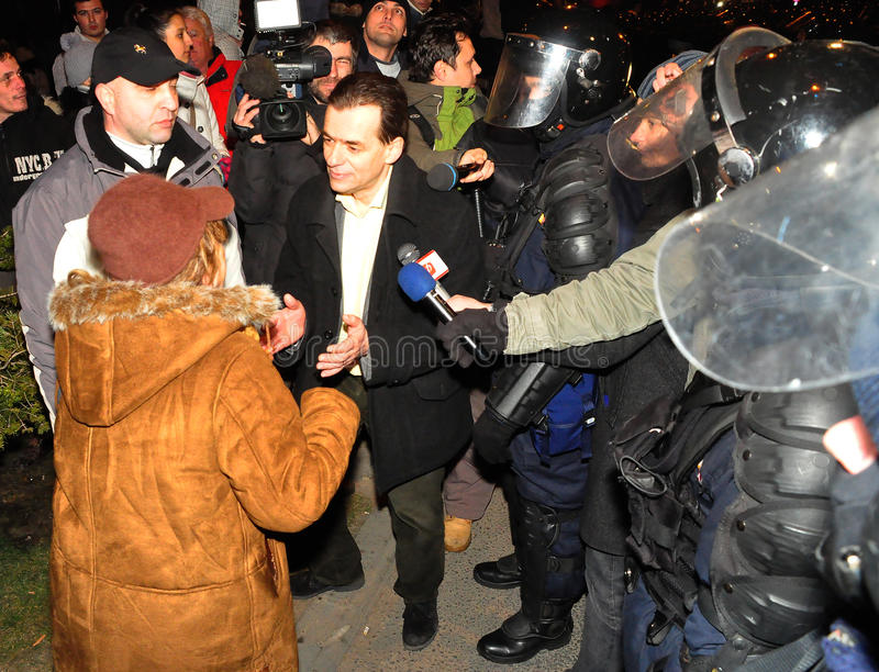 Romanian Protest 19/01/2012 - Ludovic Orban royalty free stock photo
