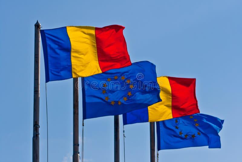 Romanian que uma UE embandeira fotos de stock royalty free