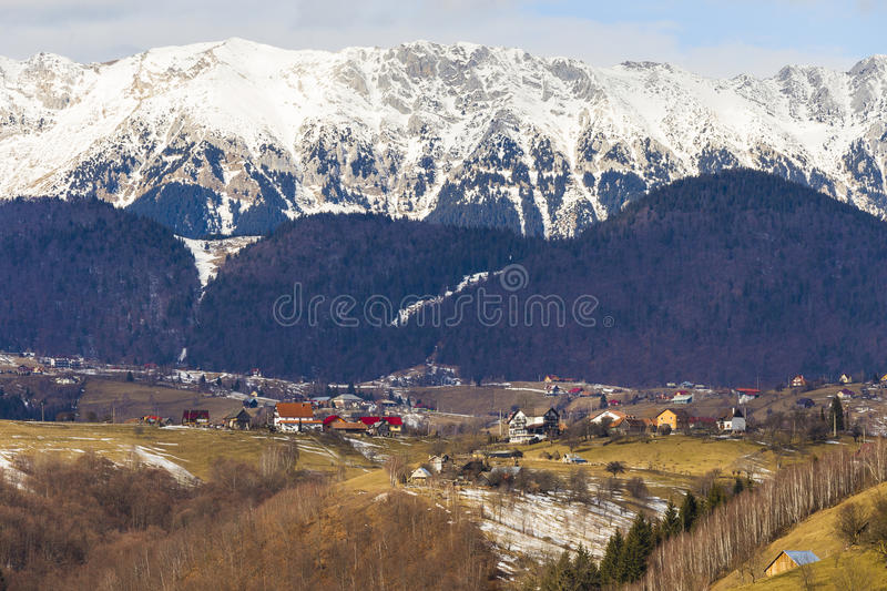 Romanian rural view facing the Carpathians royalty free stock images