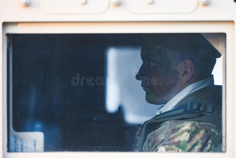 Romanian soldier. Bucharest, Romania - December 01, 2018: Romanian Army soldier before the military parade marking Romania`s Great Union Day, in Bucharest royalty free stock image