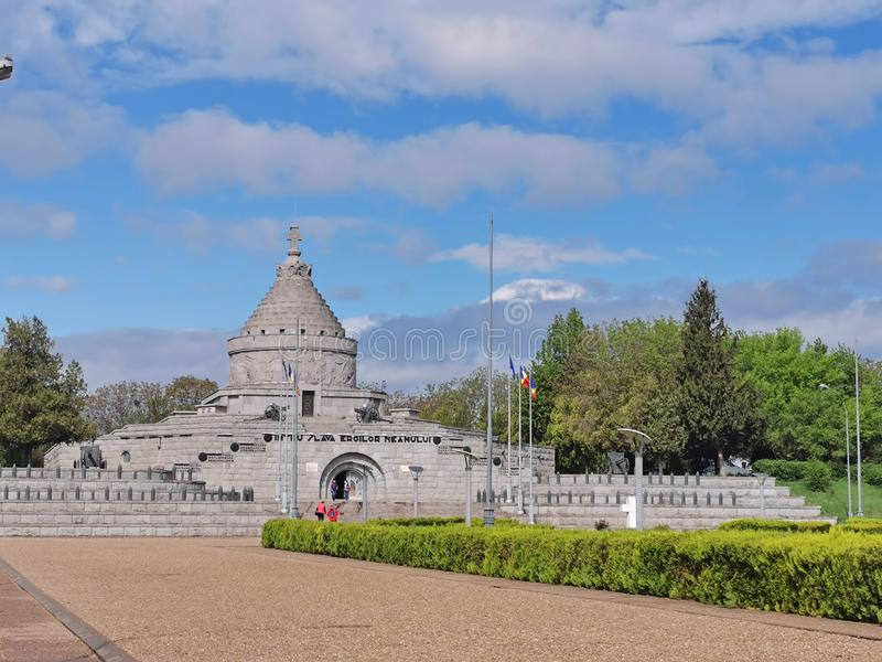Romanian soldiers monument from Marasesti. MARASESTI, ROMANIA - MAY 01, 2019: First World War Heros Mausoleum. The monument was built in the memory of royalty free stock photography