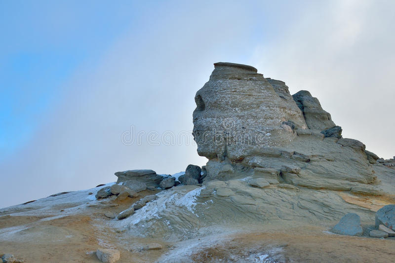 Romanian Sphinx, geological phenomenon formed through erosion. From Bucegi Mountains, part of Southern Carpathians in Romania stock image