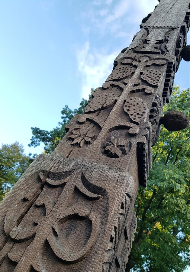 Romanian tradition carving wood ancient symbols folklor village art heritage. Romanian tradition carving wood ancient symbols folklor village art royalty free stock image