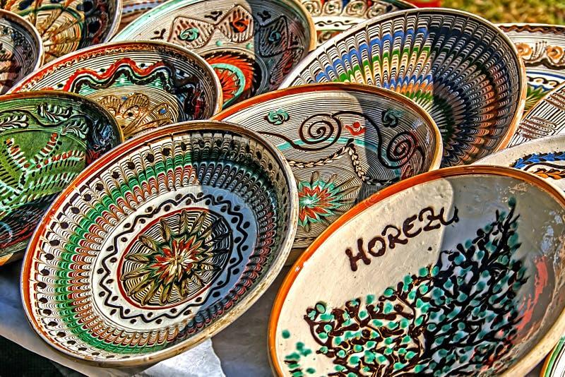 Romanian traditional ceramic plates. Horezu area, Romania royalty free stock photos