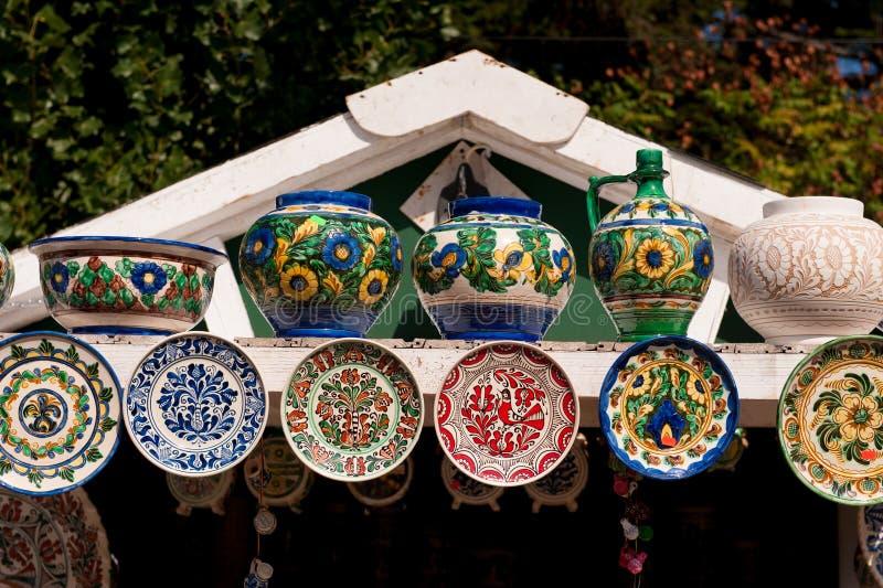 Romanian traditional ceramic plates Horezu area. Romania royalty free stock photography