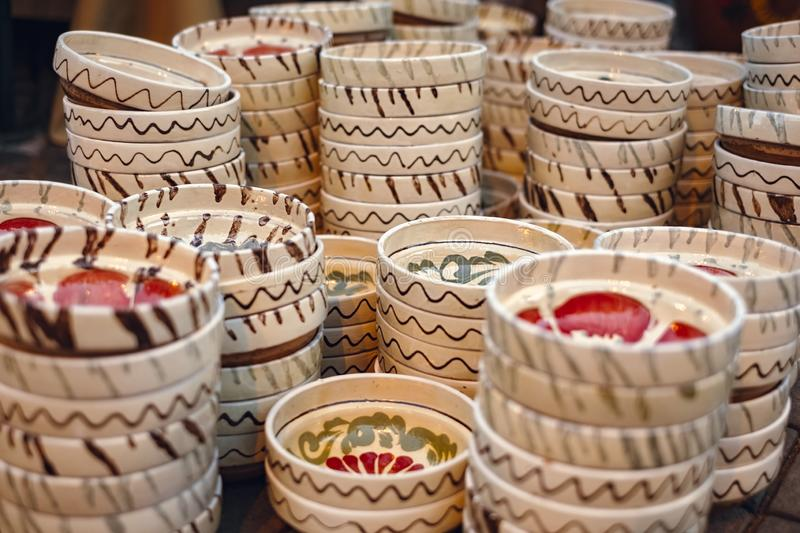Romanian traditional empty plates at the market. Close view royalty free stock photos