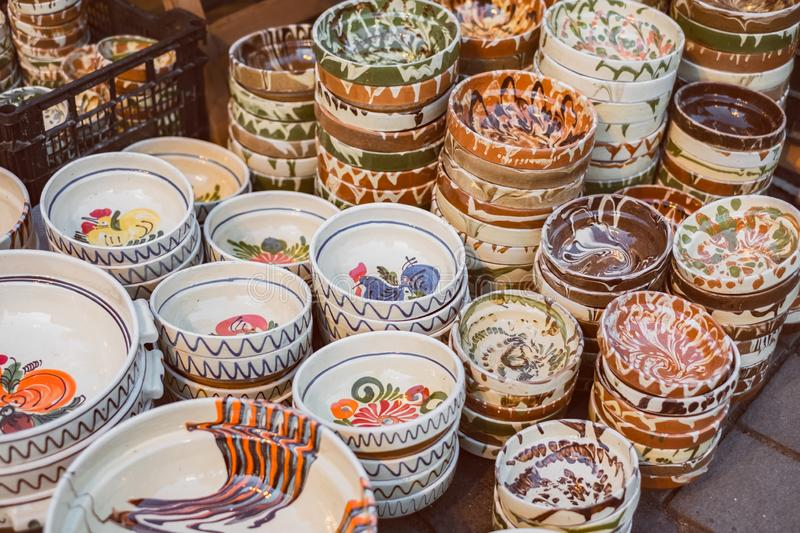 Romanian traditional empty plates at the market. Close view stock images