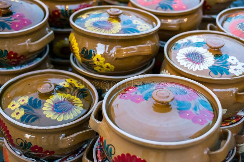 Romanian traditional empty plates at the market. Close view stock photo