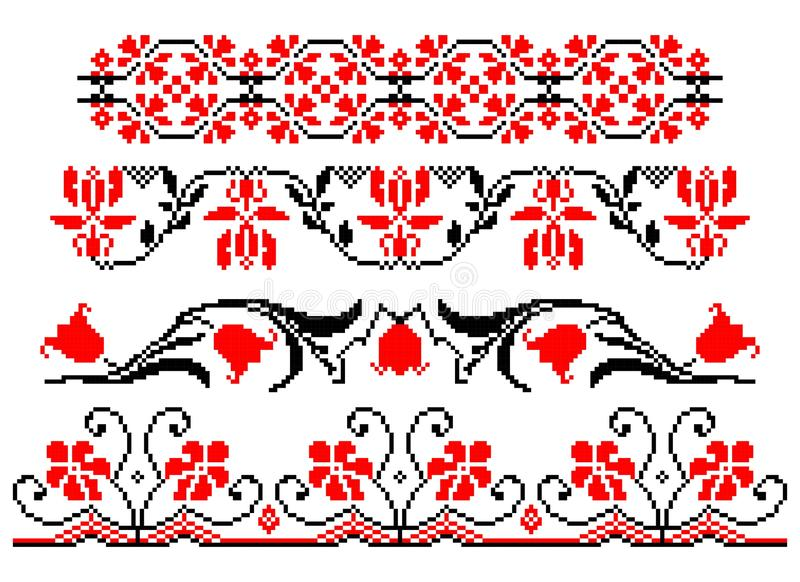 Romanian traditional floral theme - cdr format stock illustration