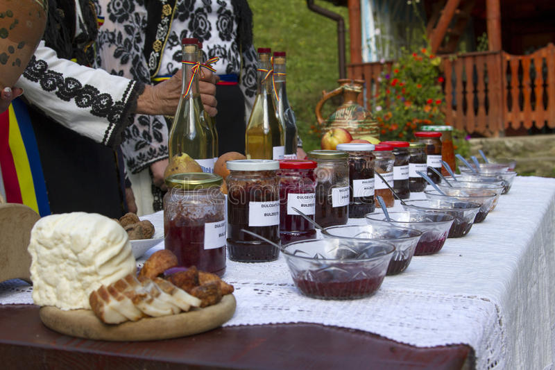 Romanian traditional food. On a table royalty free stock photography