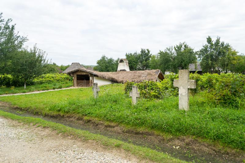 Romanian traditional house buried in the ground stock photography