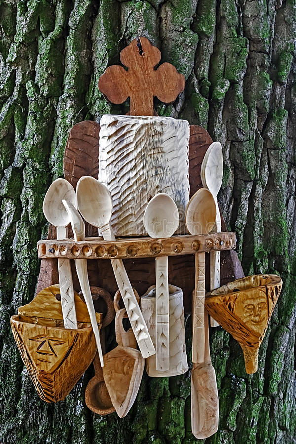Romanian Traditional Objects Of Wood Royalty Free Stock Image