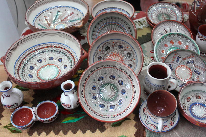 Romanian traditional pottery. Crafted and hand painted royalty free stock image