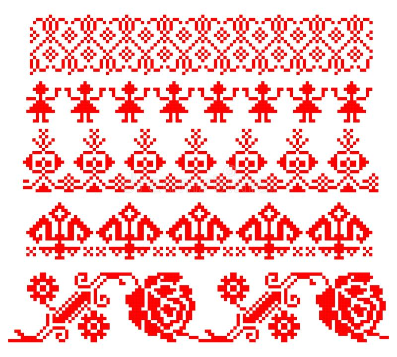 Romanian traditional theme - cdr format. Five red traditional romanian models for carpets