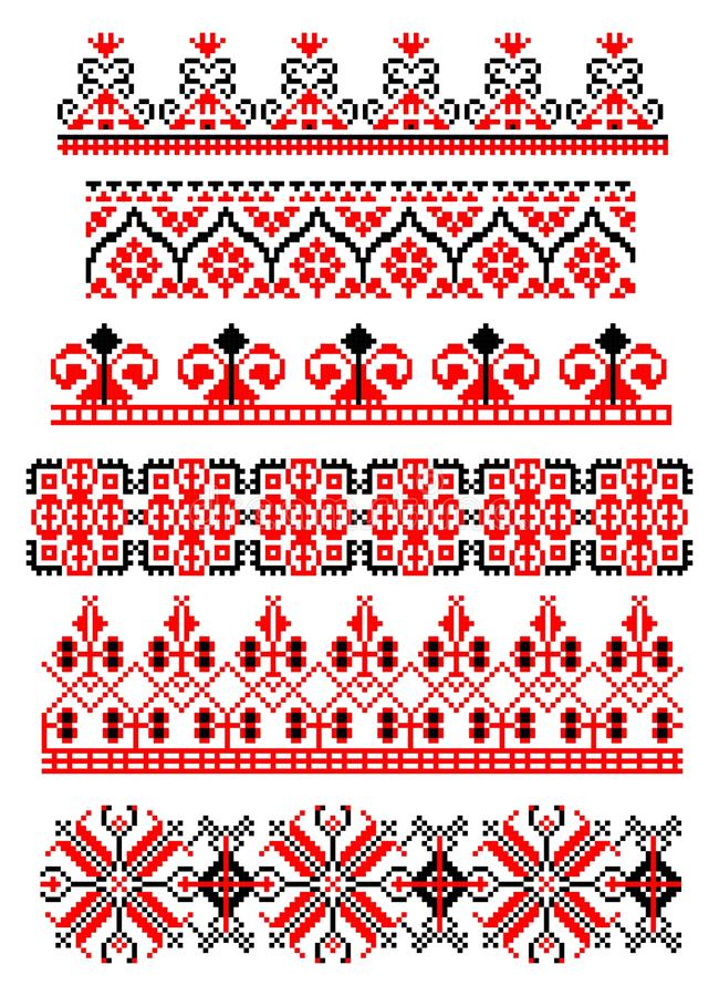 Romanian traditional theme - cdr format. Six red and black traditional romanian models for carpets
