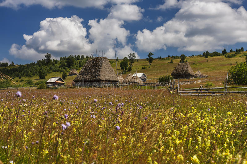 Romanian traditional village with old barn or shack with straw roof. On a meadow stock photos