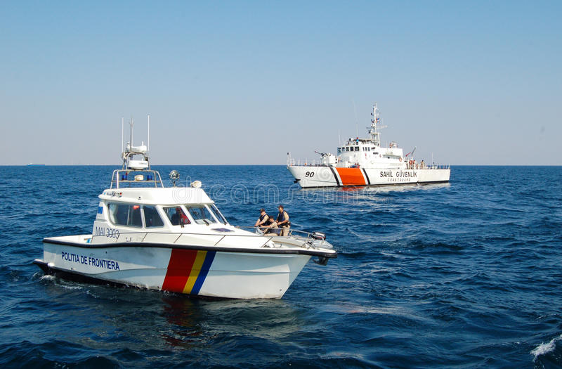 Romanian and turkish border police boats royalty free stock photo