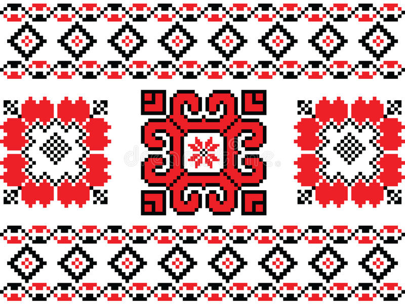 Romanian, Ukrainian, Belarusian red embroidery seamless pattern royalty free illustration