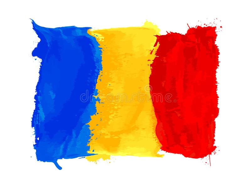 Romanian watercolor flag royalty free illustration
