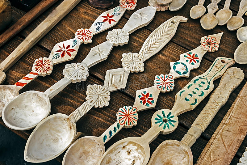 Romanian wooden spoons carved royalty free stock images